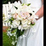 Bouquet with cascading gems and orchids
