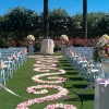 Wedding ceremony aisle with scroll pattern petals
