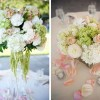 hydrangea, hanging amaranthus, stock and rose centerpieces