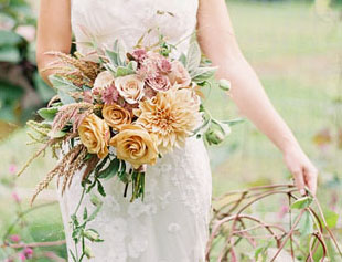gold and peach bridal bouquet.