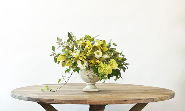 green yellow and white flower arrangement