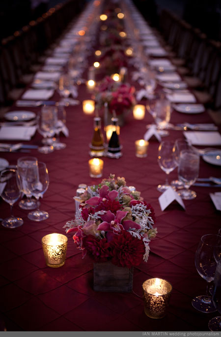 burgundy and grey centerpiece