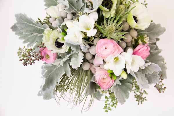 pink white and grey flower arrangement