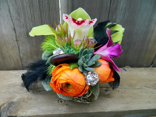 orange and green corsage