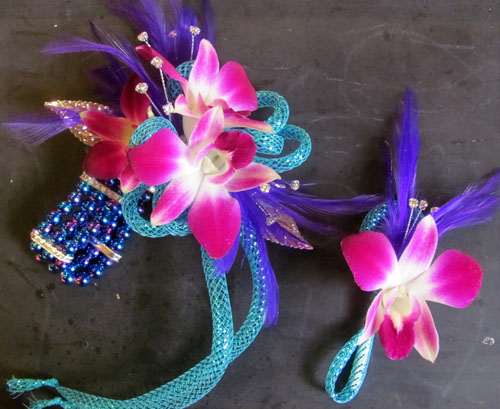 pink blue corsage