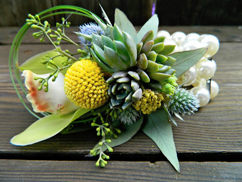 wristlet corsage with succulents