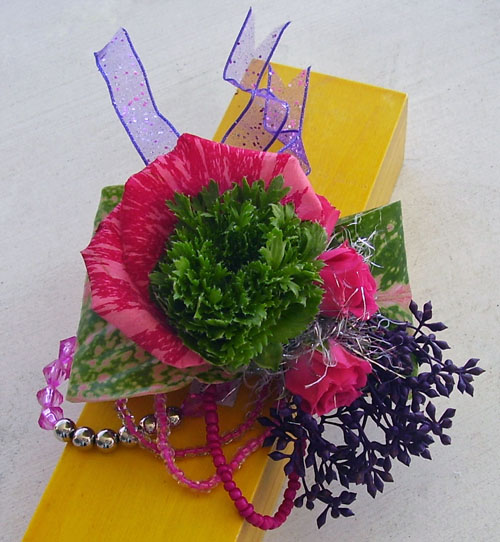 pink and green corsage
