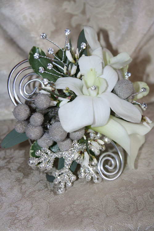white and grey corsage
