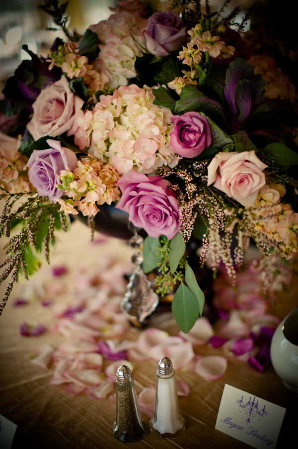 pink rose and hydrangea centerpiece