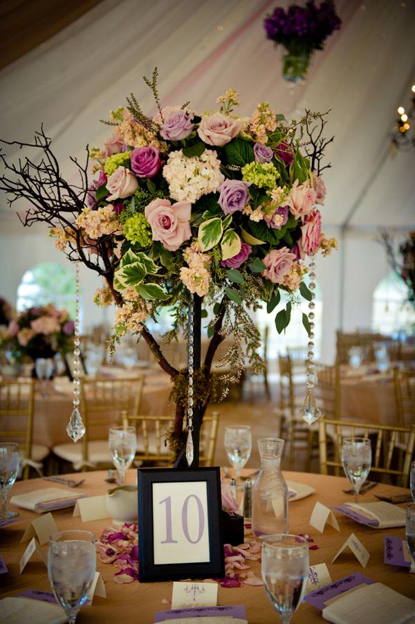 Tall flower centerpiece for weddings