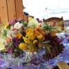yellow and plum centerpiece