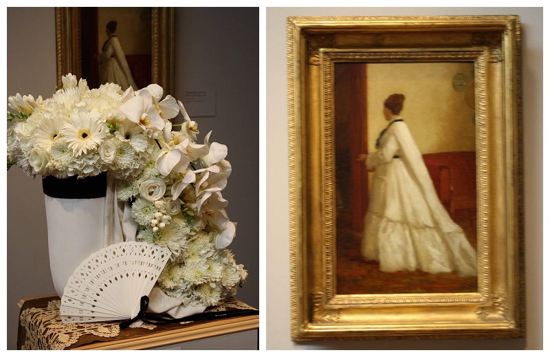 Floral Designer: Sunshine Flowers and Event Design. Art Piece: Eastman Johnson, Woman in the White Dress