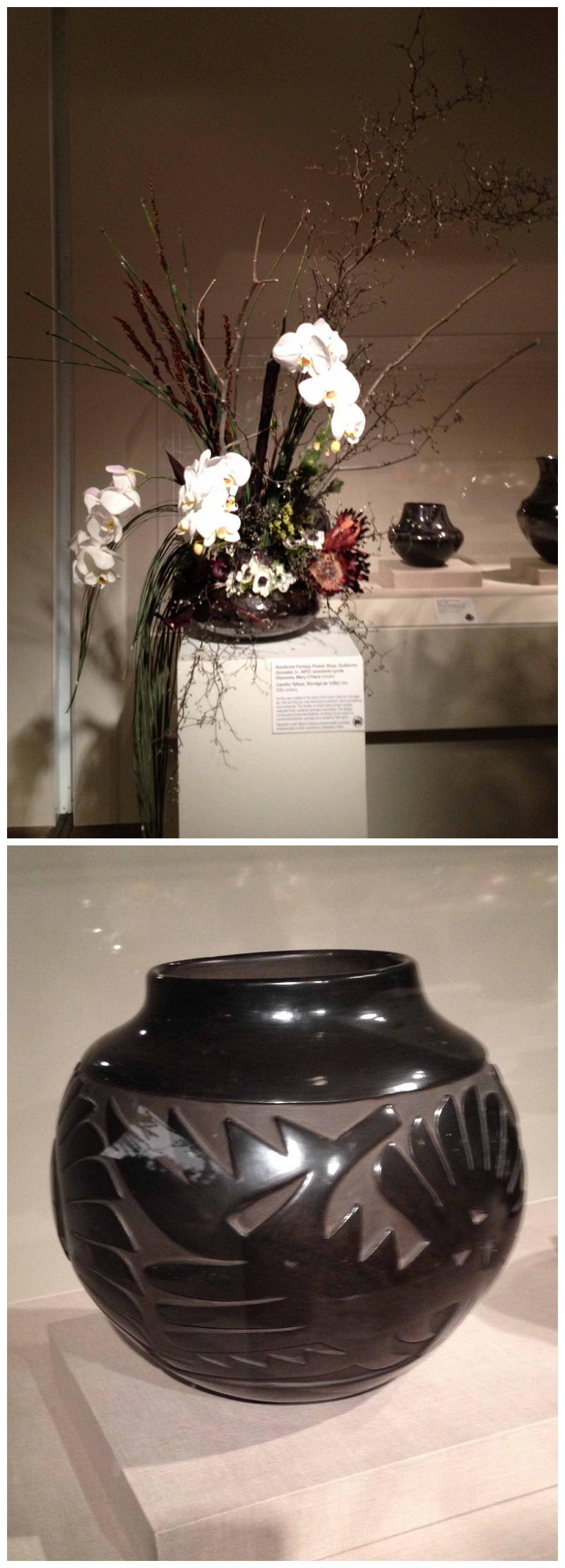 Floral Designer: Rainforest Fantasy Flower Shop. Art Piece: Camilio Tafoya, Storage jar