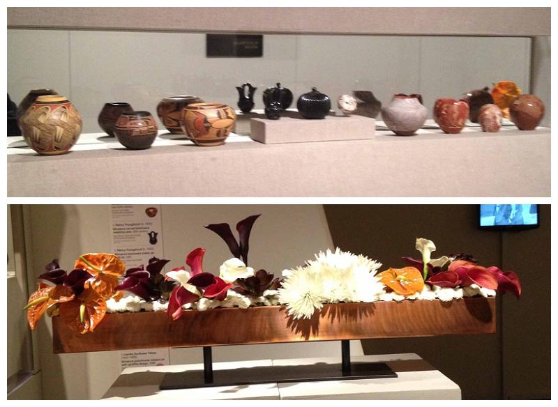 Floral Designer: Fine Arts Museum of San Francisco Flower Committee. Art Piece: Miniature Pueblo Pottery