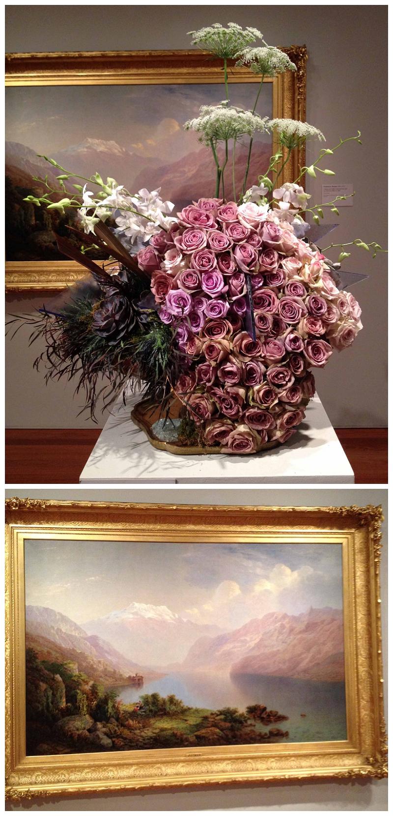 Floral Designers: Miss Scarlet's Flowers. Art Piece: Federick Butman, Chateau de Chillon