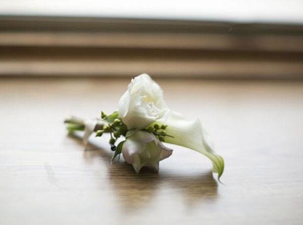 white calla boutonniere