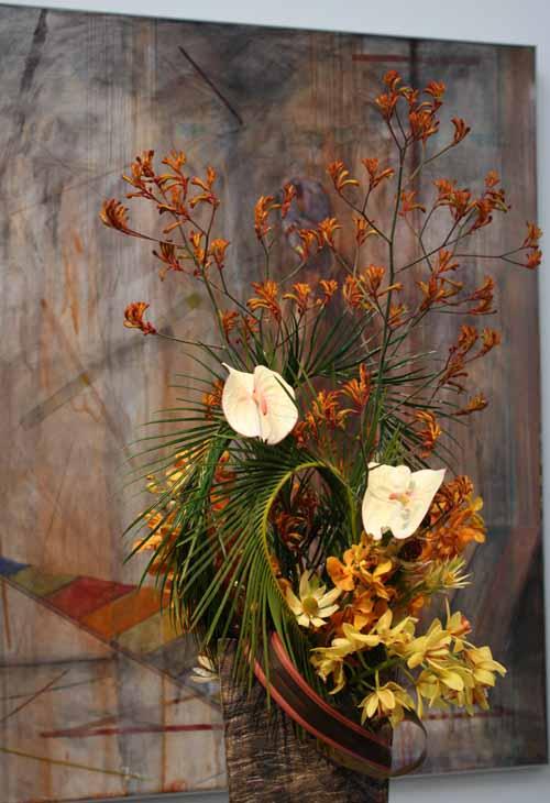 Floral Designer: Michiko Shimoda. Art Piece: Nathan Oliveira, Weaver