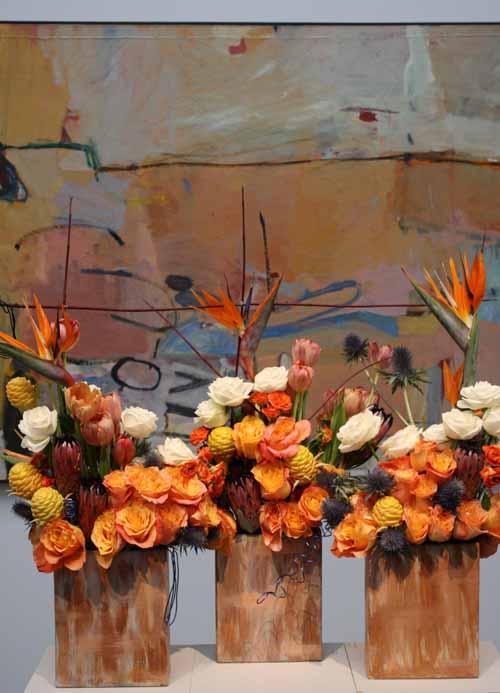 Floral Designer: Woodside-Atherton Garden Club. Art Piece: Richard Diebenkorn, Berkeley No. 3