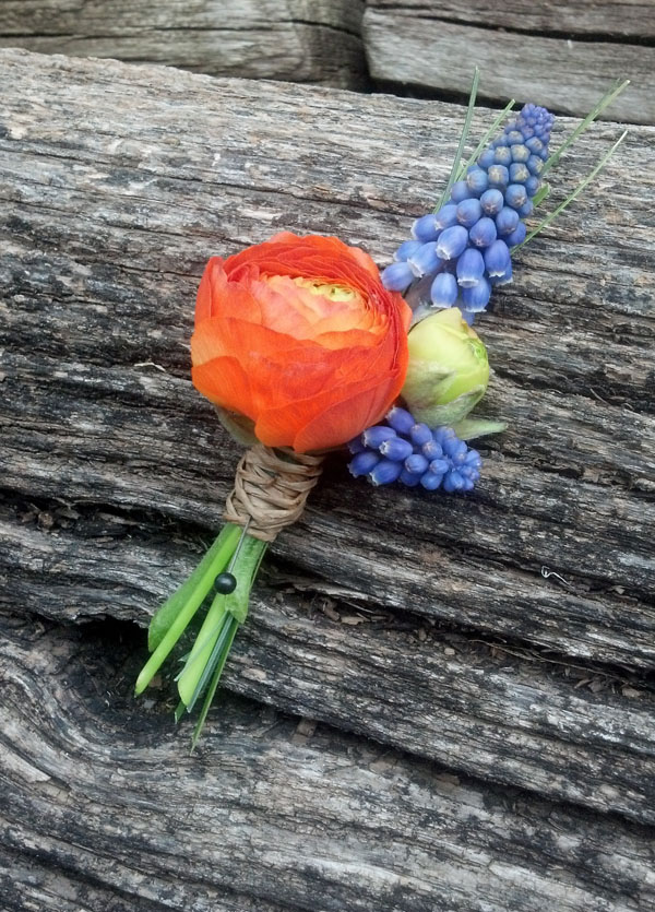 ranunculus and muscari boutonniere