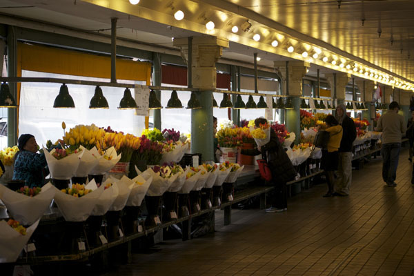 flowers on display at pike place market