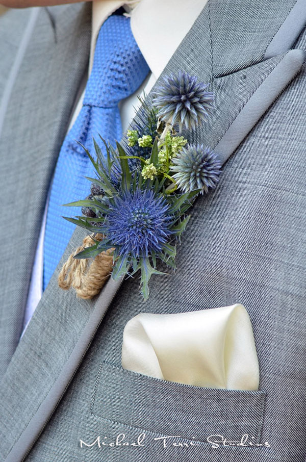 Designed by Tracy Park of Park Place Design. Blue sea thistle, Globe Thistle (from my garden)   Queen Annes Lace and wrapped with a twine  22.50