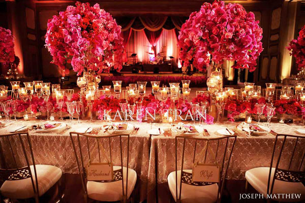 elegant gold and red wedding reception