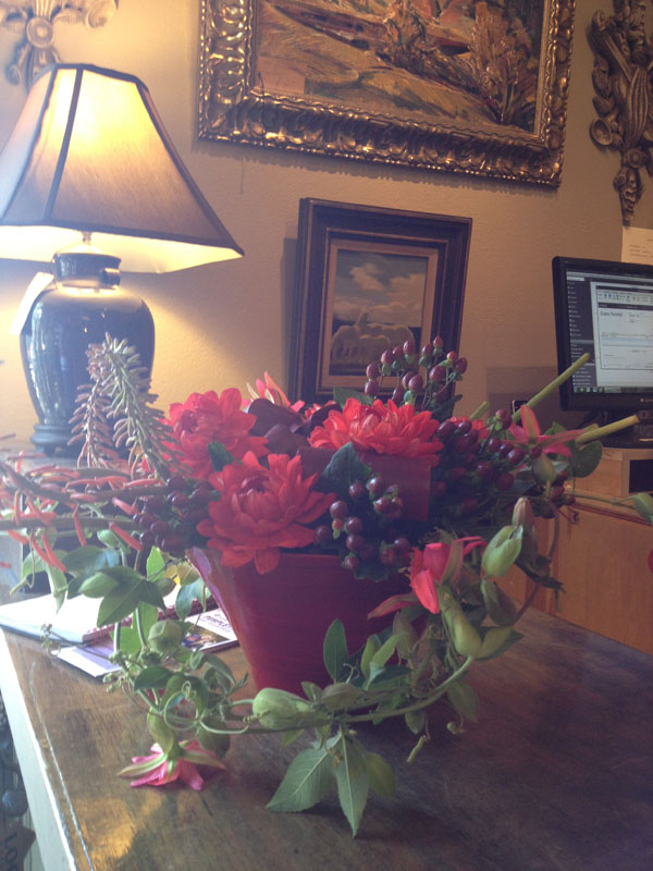 red flower arrangement