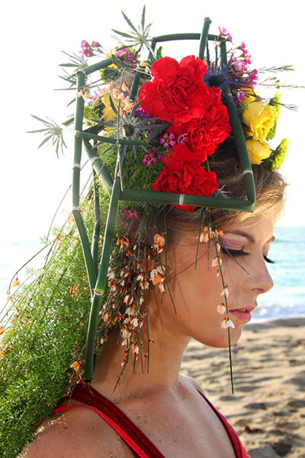 create a floral headdress