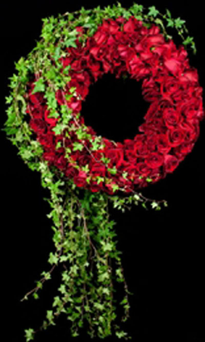 red flower sympathy wreath