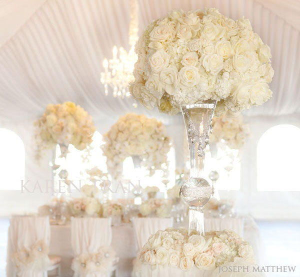 elevated white centerpieces