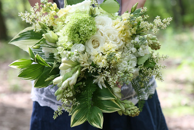 green+and+white+bride's+bouquet+featuring+Solomon's+seal,+flowering+ligustrum,+yarrow+foliage,+hosta+leaves+and+hydrangea