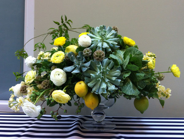 green yellow and white centerpiece
