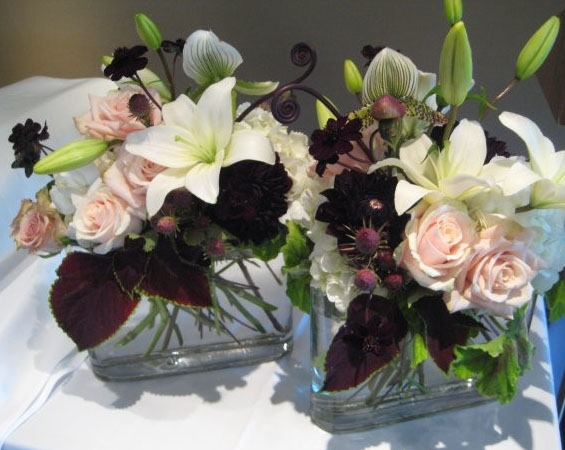 plum, pink and white flower centerpiece