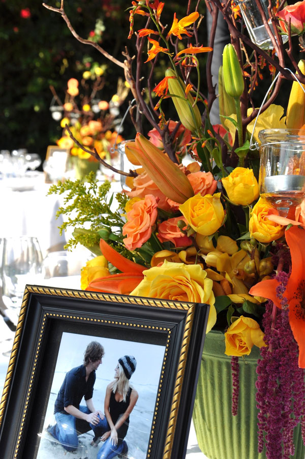 yellow and gold centerpiece