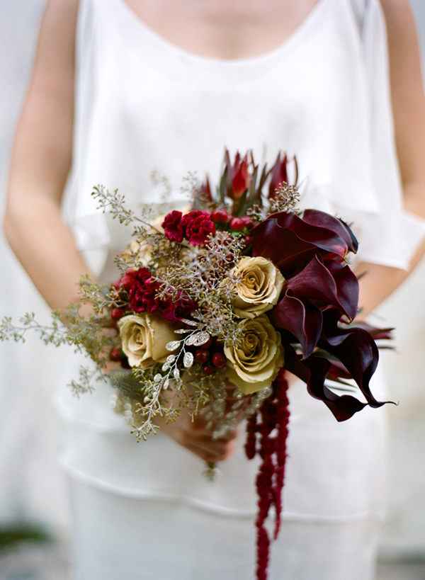 burgundy and gold bridal bouquet