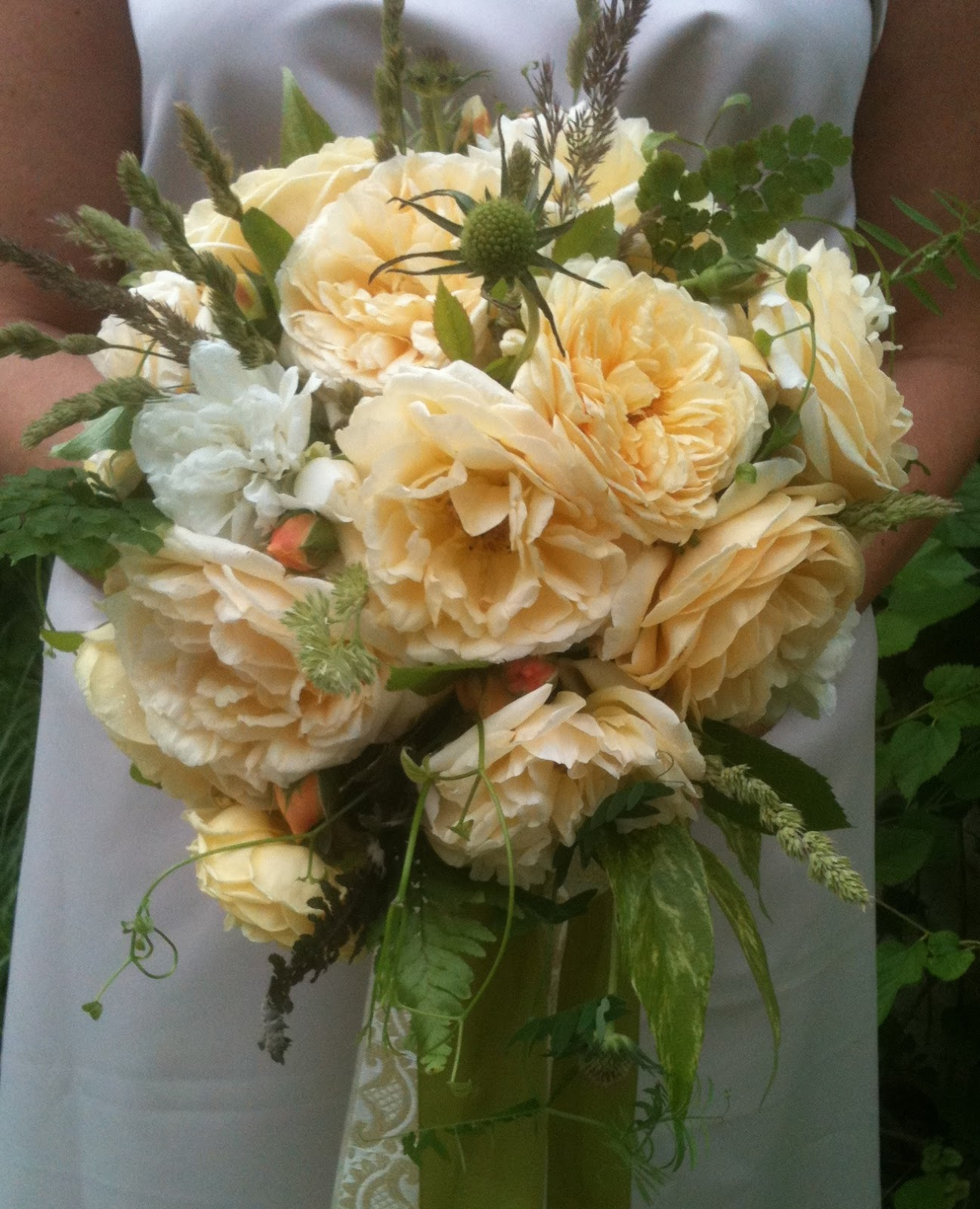 yellow garden rose bridal bouquet