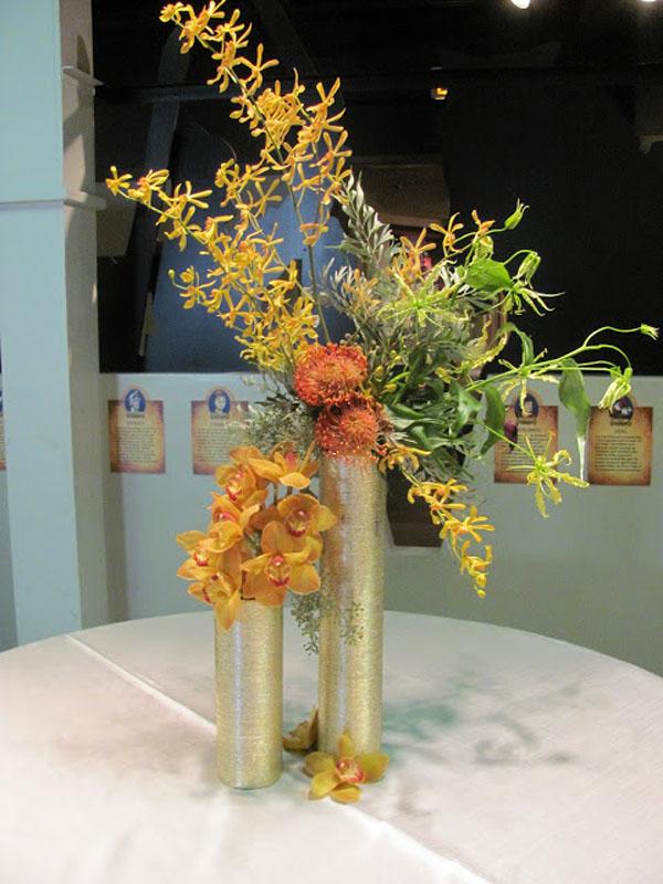 gold orchid arrangement