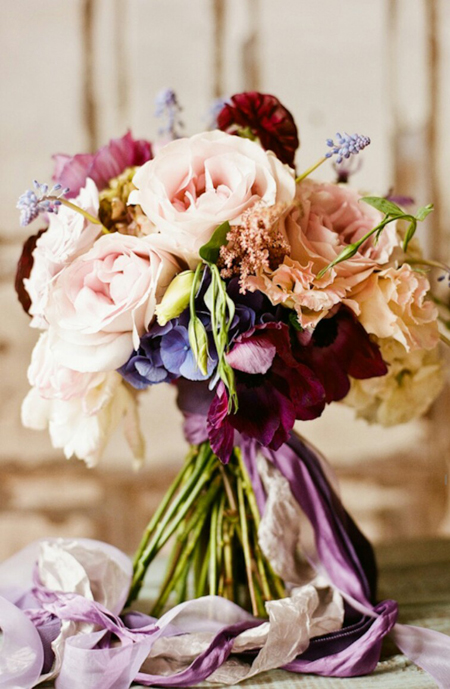 blush and purple bridal bouquet