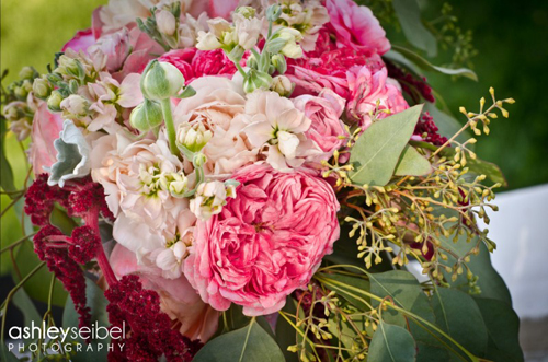 peach stock and pink rose bouquet