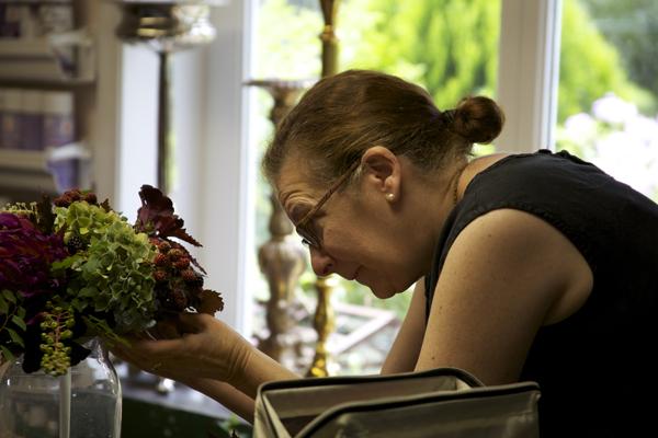 Ellen designing her woodland bridal bouquet