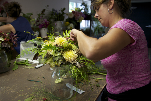 designing a flower bouquet