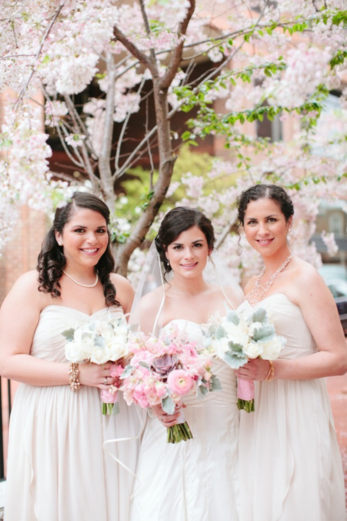 pink and white bouquets