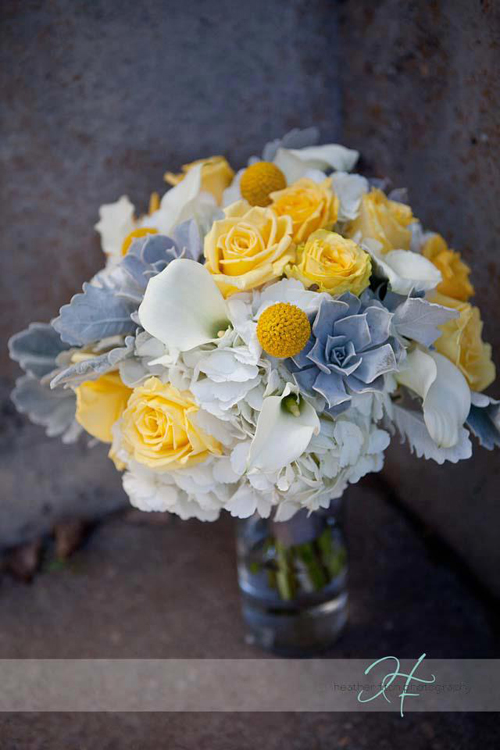 white grey and yellow bouquet
