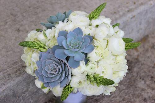 white hydrangea and succulent bouquet