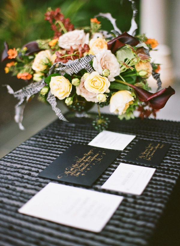 dark and light flower centerpiece