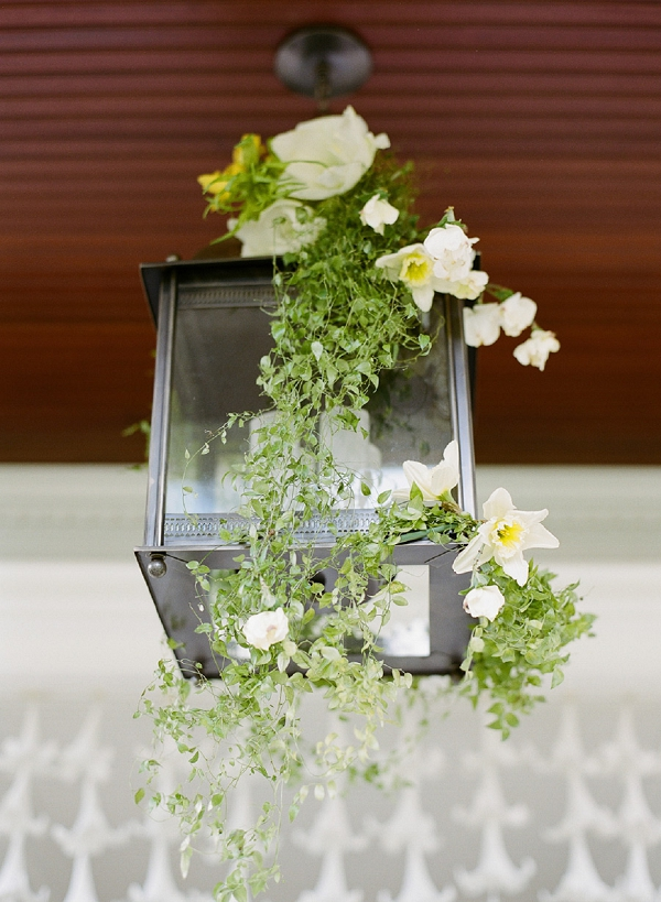 flowers on a lighting fixture