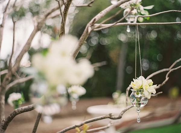 white flowers hanging in a glass vase