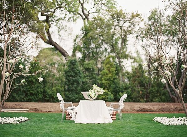 white sweetheart wedding reception