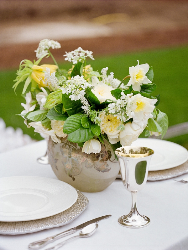 yellow and white arrangement with fritallaria