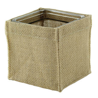 "Floral Supply Syndicate has these Burlap Covers available in 5 sizes; 4"" & 5"" Cubes, 4"", 5"" & 6.25"" Cylinders. Perfect and quick way to give a clear vase a rustic finish, perhaps a touch of ribbon to add color?"